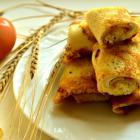 Блинчики на сыворотке с яично-сырной начинкой