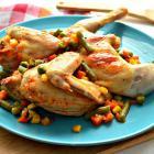 Цыпленок, запеченный со стручковой фасолью