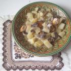 Картофель, тушеный с мясом и грибами