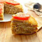 Мясной блинный торт