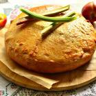 Пирог с ревенем и нектарином