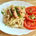 Спагетти с курицей и сыром