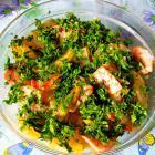 Теплый салат с картофелем и ветчиной