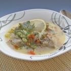 Жареный куриный суп с лимоном