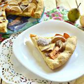 Открытый пирог с грушево-яблочной начинкой