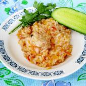 Рис с курицей на костре