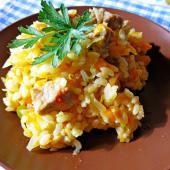 Рис со свининой и капустой