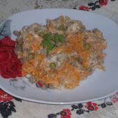 Салат из моркови по-корейски и печени