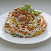 Салат Лисья шубка с лесными грибами и морковью
