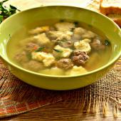 Суп с галушками и зеленью
