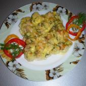 Запеканка из цветной капусты с куриным филе
