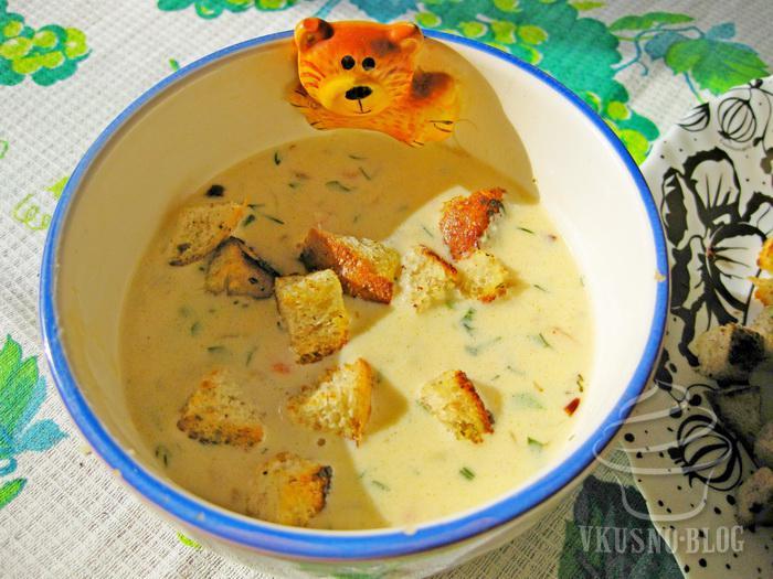 сырный суп с сухариками рецепт с фото